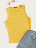 V-cut Front Rib-knit Tank Top
