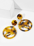 Tortoiseshell Pattern Tree Drop Earrings 1pair