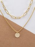 Chain Link Double Layer Circle Pendant Necklace