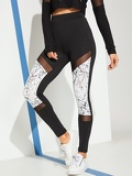 Cut And Sew Mesh Panel Leggings