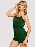 Lace Trim Open Back Satin Romper