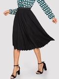 Chevron Hem Solid Flare Skirt