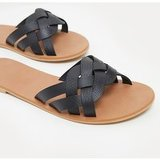 Black Platted Mule Sandal