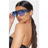 Blue Transparent Frame Flat Top Oversized Sunglasses