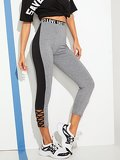 Letter Tape Lace-up Leggings