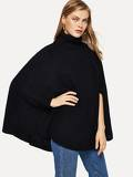 Turtle Neck Solid Cape Jumper