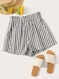 Ruffle Waist Slant Pocket Stripe Shorts