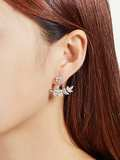Leaf & Flower Design Rhinestone Ear Jacket