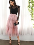 Raw Trim Tiered Layer Lace Skirt
