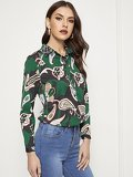 Floral Print Trim Button Front Blouse