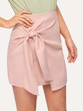 Knot Front Overlap Solid Skirt