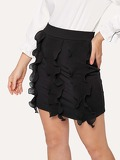Solid Contrast Frill Skirt
