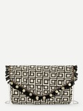 Tassel Detail Geometric Pattern Clutch