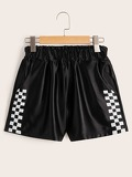 Elastic Waist Checked Panel Side Shorts