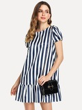 Puff Sleeve Ruffle Hem Striped Dress