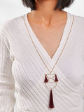 Tassel & Half Circle Sweater Chain Necklace