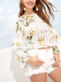 Floral Print Flounce Sleeve Ruched Waist Blouse