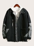 Men Contrast Panel Raw Hem Denim Jacket