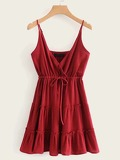 Drawstring Waist Frill Trim Cami Dress