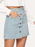 Dual Pocket Button Front Denim Skirt
