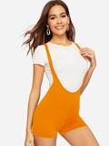 Neon Orange Skinny Pinafore Shorts