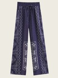 Scarf Print Knot Front Pants
