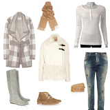 Shearling coat, Checked cashmere cardigan, Distressed boyfriend-fit straight-leg jeans, Футболка Esprit, Waris lace-up suede ankle boots, Suede knee boots, Leather belt, Cashmere scarf