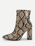Snakeskin Print Point Toe Ankle Boots
