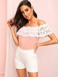 Off Shoulder Hollow Out Crochet Tee