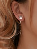 Flower Detail Threader Drop Earrings 1pair