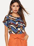 Colorblock Geo Print Top