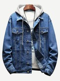 Men Contrast Hooded Denim Jacket