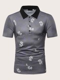 Men Contrast Collar Letter Print Polo Shirt
