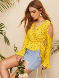 Cold Shoulder Wrap Belted Confetti Heart Print Top
