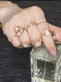 Anchor Detail Gemstone Ring Set 7pcs