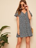 Ruffle Hem Button Up Floral Dress