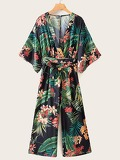 Self Tie Tropical Print Jumpsuit