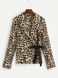 Knotted Side Leopard Fitted Blazer