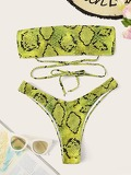Snake Print Bandeau With High Cut Bikini Set