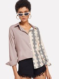 Contrast Panel Geo Print Blouse