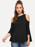 Solid Cold Shoulder Tee
