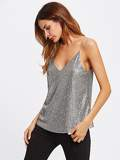 Metallic Sequin Dual V Neck Cami Top