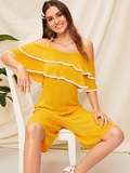 Tassel Trim Layered Ruffle Trim Tank Jumpsuit