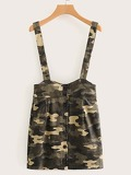 Button Front Camo Print Pinafore Skirt