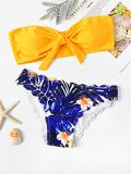 Random Knot Bandeau Top With Scalloped Bikini Set