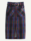 Self Tie Slit Hem Plaid Pencil Skirt