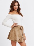 Self Belted Wrap Suede Skirt