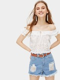 Ruffle Trim Drawstring Neck Off The Shoulder Blouse