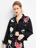 Letter And Heart Print Jacket