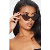 Brown Tortoiseshell  Gold Metal Edge Pointed Cat Eye Sunglasses